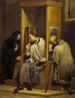St John of Nepomuk Hearing the Confession of the Queen of Bohemia, (1743) by Lo Spagnuolo